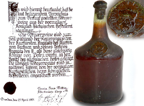 Certificate of origin for the Tokaji bottles on the Dresden auction in 1927